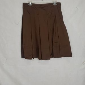 BURBERRY London brown silk pleated career skirt 8